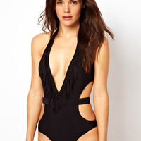 ASOS Fringed Cut Out One Piece with Belt Detail