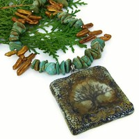 Tree of Life Pendant Necklace Handmade Turquoise Pearls OOAK Jewelry