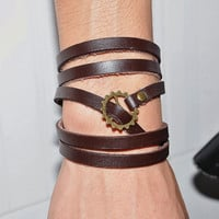 5 Circles Brown Real Leather Wrap Bracelet Bronze Gears Buckle Men Leather Cuff Bracelet Unisex Bracelet T090-BR