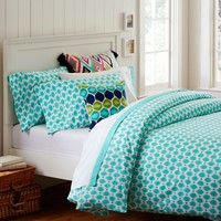 Ikat Dot Organic Duvet Cover + Pillowcases, Pool