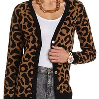 LEOPARD PRINT GRANDFATHER CARDIGAN