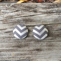 Grey Button Earrings, Silver Earrings, Chevron Earrings, Fabric Earrings, Button Earrings, Post Earrings, Gray and Silver Metallic Chevron