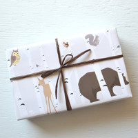 10 feet FOREST FRIENDS wrapping paper, 2 x 10 feet, gift wrap, decorative paper, birch trees, deer, bear, owl, squirrels