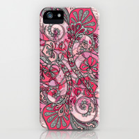 Baroque Doodle in Berry Pink and Peach iPhone & iPod Case by micklyn