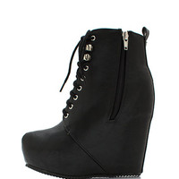 Faux-Leather-Get-Laced-Wedge-Booties BLACK - GoJane.com