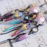 Once Divine: Sparkly Cosmic Gypsy Pink Turquoise Gold Earrings