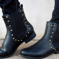 Black Leather Studded Ankle Boots