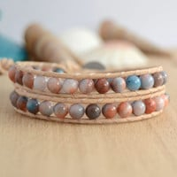 Beaded double wrap bracelet. Pale, nude leather bracelet. Beach chic jewelry
