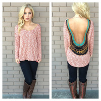 Brick Low Back Embroidered Knit Top