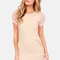 Lavand Every Trick in the Boucle Peach and Beige Dress