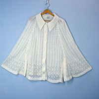 Ivory 1960s Sweater Cape Lacy Mod Retro Poncho Sweater