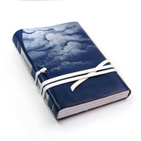 Blue Sky Leather Journal / Diary / Notebook - Hand Painted White Clouds Dark Blue Leather Cover and White Paper - The Dreamer
