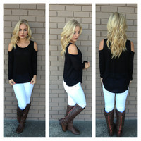 Black Open Shoulder Long Sleeve Top