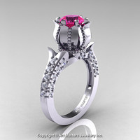 Classic 14K White Gold 1.0 Ct Pink Sapphire Diamond Solitaire Wedding Ring R410-14KWGDPS