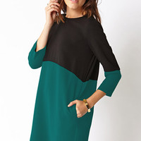 Sleek Colorblocked Shift Dress