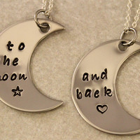 Love You To the Moon and Back - Couples Jewelry - Girlfriend Boyfriend Gift - Hand Stamped His and Her Necklaces - Stainless Steel
