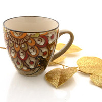 Autumn Bird mug , Be Grateful for this day, taupe beige