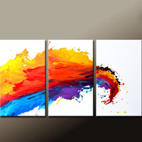 Abstract Canvas Art Painting 3pc 72x36 Contemporary Original Modern Art by Destiny Womack - dWo - The Wave
