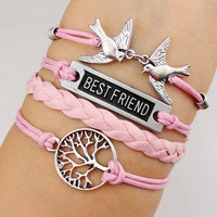 infinity tree bracelet, cute swallow bracelet, women rope bracelet personalized cute bracelet Friendship Gift A003