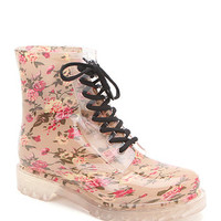 Black Poppy Floral Rainboots at PacSun.com