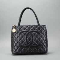 Chanel Black Caviar Leather Medallion Tote Bag