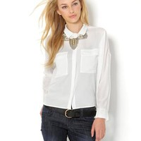 Achro Button-Up Long Sleeve Blouse - Labels We Love: Rachel Roy, BCBG, DVF & More - Modnique.com