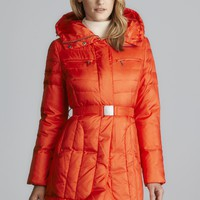 Cole Haan Quilted Down Puffer Coat With Belt