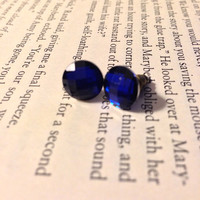 Blue Matte Rhinestone Earrings with Antique Bronze Posts
