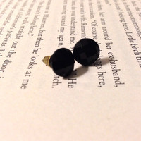 Black Matte Rhinestone Earrings with Antique Bronze Posts and Backings