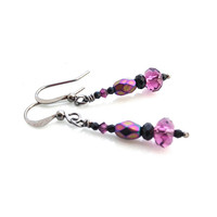 Purple Earrings, Amethyst, Black Earrings, Deep Purple, Dangle, February Birthstone, Fire Polished