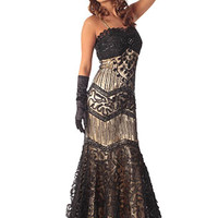 Beaded Black Tulle Art Deco Mermaid Gown - Evening Dress