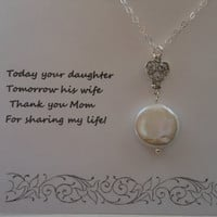Mother of the Bride, Mothers Necklace, Silver Heart Necklace,Thank You Mom, Pearl Necklace,Mother in Law, Gifts For Mom, Mother of the Groom