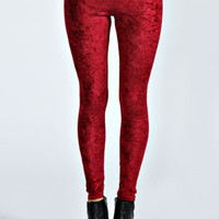 Betty Crushed Velvet Basic Leggings