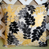 Fall Foiliage Leaf Pattern Pillow Cover in Yellow, Black, and Gray