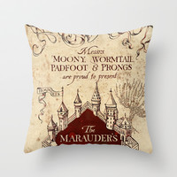 The Marauder's map- Harry Potter Throw Pillow by Susan H