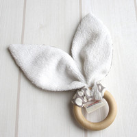 Natural Wooden Teething Ring Soother ORGANIC Dottie Cream Shroom Grey & Unbleached Bamboo Terry....an eco friendly gift idea from Cwtch Bugs