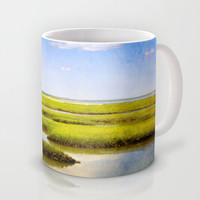 View in Green and Blue from Bass Hole Boardwalk at Grays Beach Yarmouth Port MA Cape Cod Summer Mug by Brooke Ryan Photography