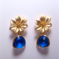 Dragons Gold Flower Blue Drop Dangle Earrings
