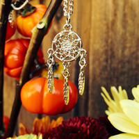 Tiny Silver Dream Catcher Charm Necklace