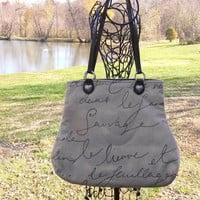 Waverly Pen Pal Fabric Handbag Purse French Script