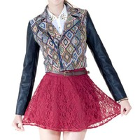 Flying Tomato Women's Leather Mix Tribal Jacquard Moto Jacket