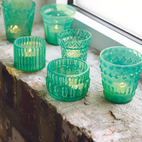 All Gifts - Verre Turquoise Tealights, Set of 6