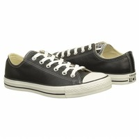Athletics Converse Men's All Star Leather Low Black Leather Shoes.com