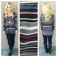 Slate Stripe Modal Long Sleeve Top