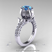 Classic 950 Platinum 1.0 Ct Aquamarine Diamond Solitaire Wedding Ring R410-PLATDAQ