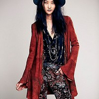 Free People Womens Chilli Painted Suede Jacket -