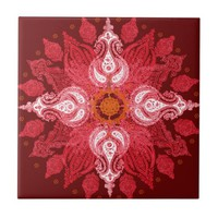 Paisley wheel red sun flower tiles