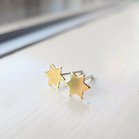 Star Stud Earrings, Six Pointed Star Earrings, Star of David, Gold Star Ear Posts, Christmas Star, Tiny Star Earrings, Christmas Gift (E207)