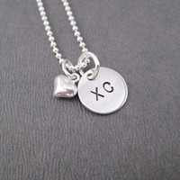 STERLING SILVER PUFFED HEART LOVE XC - Sterling Silver pendants on Sterling Silver or Leather and Sterling Chain