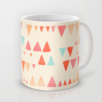 Back & Forth - triangle abstract pattern in peach, aqua & cream Mug by micklyn